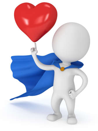 winning proposal: Brave superhero lover with blue cloak and big red heart on pointing finger. Isolated on white 3d render. Love, wedding marriage ceremony and Valentines Day celebration concept.