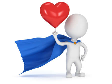 Brave superhero lover with blue cloak and big red heart on pointing finger. Isolated on white 3d render. Love, wedding marriage ceremony and Valentines Day celebration concept.