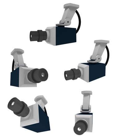 voyeur: 3d illustratiom of surveillance camera Stock Photo