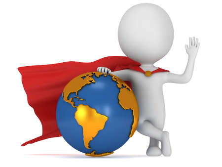 dominance: Brave super businessman with red cape stand near Earth globe. Isolated on white 3d render. Success, internet, world concept.