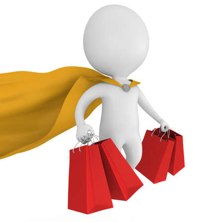 mystery man: Brave superman with yellow cloak and red paper shopping bags flying above. Isolated on white 3d man. Merchandise, shopping, mystery shopper concept. Stock Photo