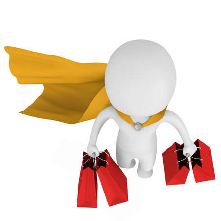 mystery man: Brave superhero with yellow cloak and red paper shopping bags flying above. Isolated on white 3d man. Merchandise, shopping, mystery shopper concept.