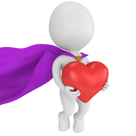 winning proposal: Brave superhero in love with purple cloak and big red heart in hands. Isolated on white 3d render. Love, wedding marriage ceremony and Valentines Day celebration concept.