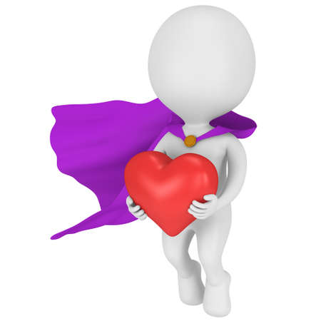 pathetic: Brave superhero in love with purple cloak and big red heart in hands. Isolated on white 3d render. Love, wedding marriage ceremony and Valentines Day celebration concept.