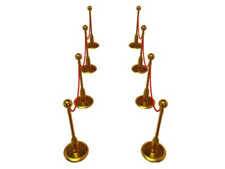 acomodador: Barrera de cuerda de oro sobre blanco - 3d
