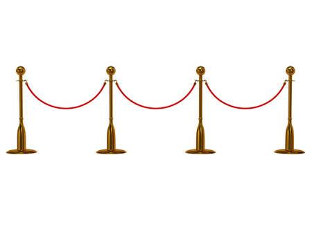 Golden rope barrier over white - 3d render photo