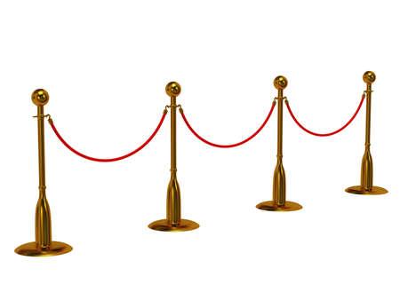 Golden rope barrier over white - 3d render