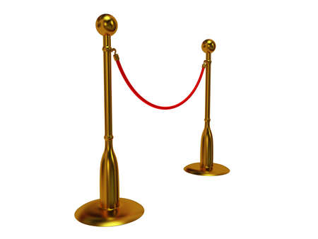 stanchion: Golden rope barrier over white - 3d render