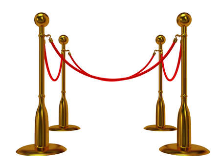 velvet rope barrier: Golden rope barrier over white - 3d render