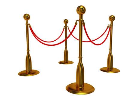 rope barrier: Golden rope barrier over white - 3d render
