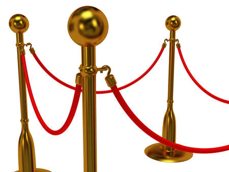 velvet rope barrier: Golden rope barrier over white - 3d render
