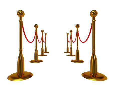 barrier rope: Golden rope barrier over white - 3d render