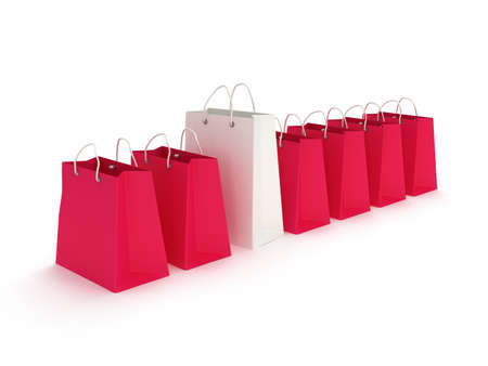 crimson: White classic shopping bag in a row of crimson bags with handles isolated on white. (3d render)