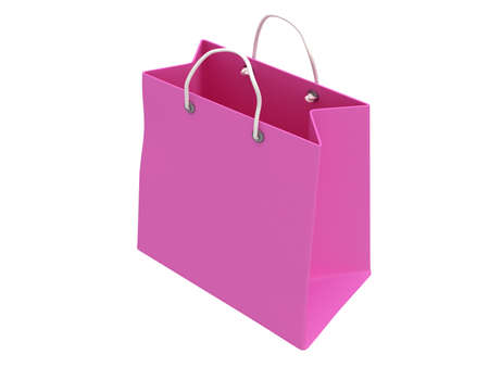 handles: Classic pink blank shopping bag with handles isolated on white. 3d render. Sales, market, shop concept. Stock Photo