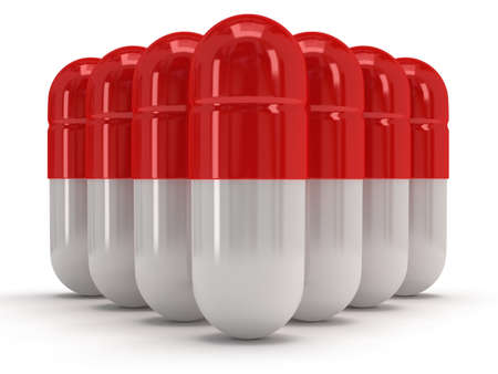 white pills: 3d medical pills stand like pyramid on white. Pills, drugs, medicine, healthcare concept Stock Photo