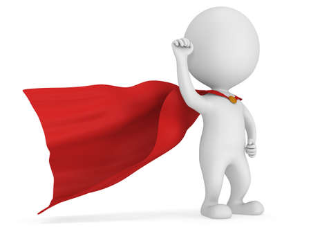 Man brave superhero with red cloak and sign of victory - right hand raised up clenched fist. Isolated on white 3d render.