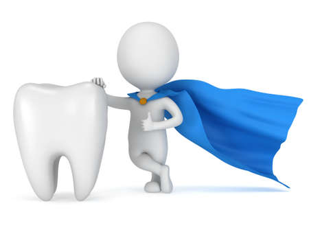 Brave Superhelden Zahnarzt mit großen weißen Zähne. Isoliert auf weißem 3D-Darstellung. Zahnmedizin Gesundheitskonzept. Standard-Bild