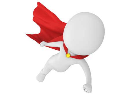 赤いマントをまとった前方飛んで勇敢なスーパー ヒーローの男。白の 3 d のレンダリングに分離されました。 写真素材