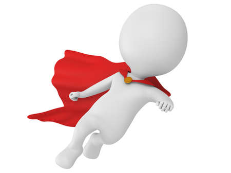 Man brave superhero with red cloak flying forward. Isolated on white 3d render.