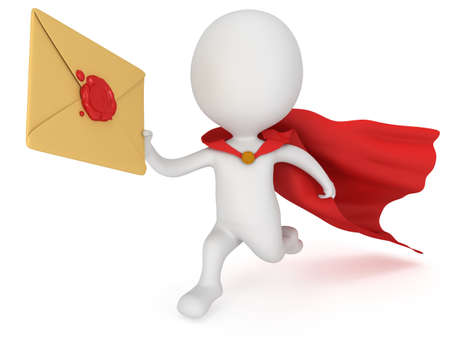 3d man brave superhero with red cloak and mail envelope with red wax seal. Render isolated on white. E-mail, message, communication fast delivery concept.
