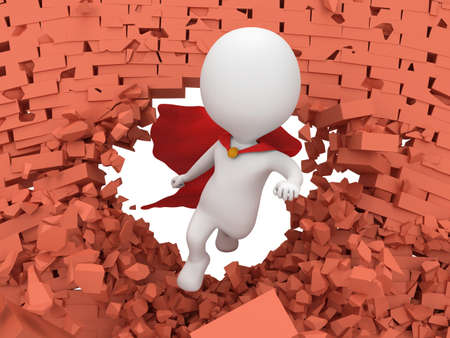 Man brave superhero with red cloak flying forward through broken brick wall with hole. 3d render. Heroic, freedom concept