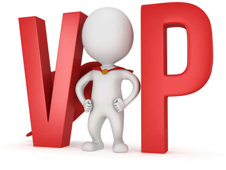 3d VIP man - brave superhero with red cloak and huge letters. Isolated on white.