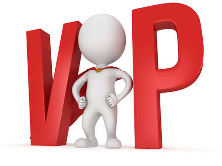pathetic: 3d VIP man - brave superhero with red cloak and huge letters. Isolated on white.