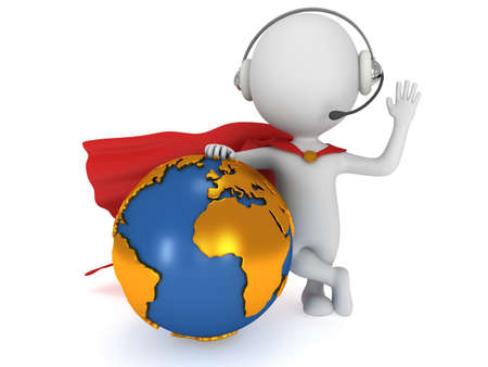 3d man brave superhero global manager with red cloak stand with Earth planet globe. Render isolated on white. Business, support, call center concept. Reklamní fotografie