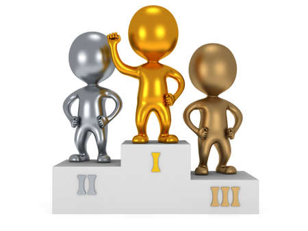 Winners on sports podium for the first, second and third place isolated on white. Stylized metal people raise hands up photo