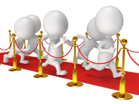 happyness: People run on red event carpet with golden rope barriers. 3D render isolated on white. Chase, pursuit of happyness, glory and success concept.