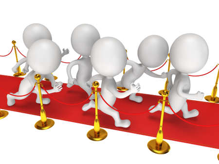 festival scales: People run on red event carpet with golden rope barriers. 3D render isolated on white. Chase, pursuit of happyness, glory and success concept.