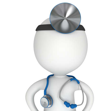 Arzt mit einem Stethoskop und Spiegel auf den Kopf. 3d render Mann isoliert auf weiß. Medizin und Gesundheitskonzept.
