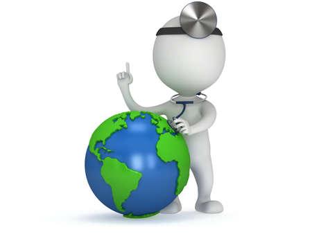 Weltgesundheitstag Konzept mit Erdkugel und Arzt mit einem Stethoskop und Spiegel auf den Kopf. 3d Render isoliert auf weiß. Medizin und Gesundheit Darstellung