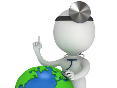 ent: World health day concept with earth globe and doctor with a stethoscope and mirror on his head. 3d render isolated on white. Medicine and healthcare illustration