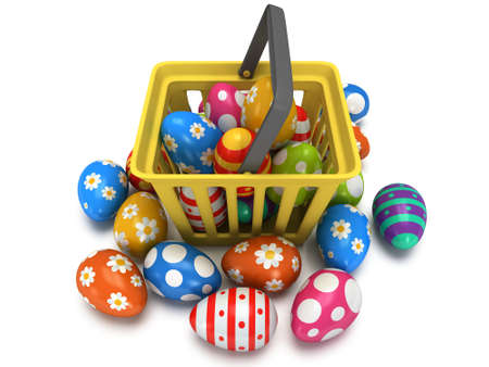 Easter Eggs in yellow shopping basket isolated on white background - 3d render photo