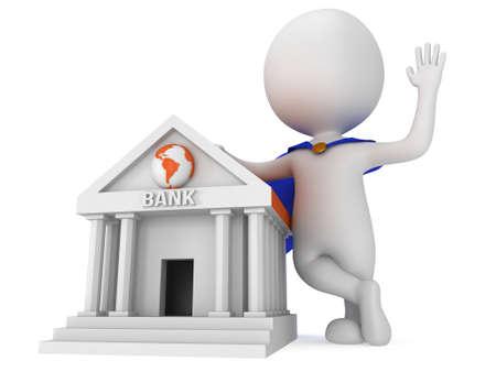 banco mundial: S�per banquero Brave con capa azul agitando su mano en se�al de saludo, cerca de banco global mundial. Procesamiento 3D icono aislado en blanco. El dinero y bienes ra�ces concepto. Foto de archivo