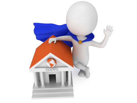 rescue west: Brave super banker with blue cloak waving his hand in greeting near world global bank. 3D render icon isolated on white. Money and real estate concept. Stock Photo