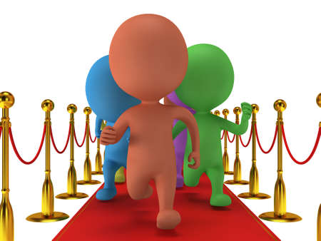 happyness: Colored people run on red event carpet with golden rope barriers. 3D render isolated on white. Chase, pursuit of happyness, glory and success concept.
