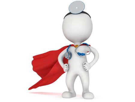 Brave Superhelden Arzt mit rotem Mantel, Stethoskop und Spiegel auf den Kopf. 3d render Mann isoliert auf weiß. Medizin und Gesundheitskonzept. Lizenzfreie Bilder