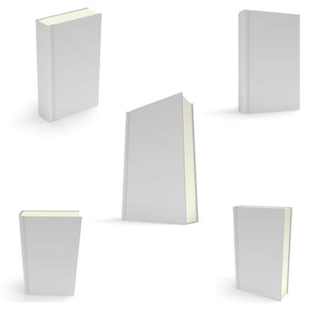 noname: Set of blank books cover over white background. 3D render. Studing illustration. Back to school. Stock Photo