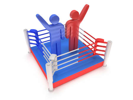 bleachers: Two men on boxing ring. High resolution 3d render. Sport, competition, match, arena, praise concept.