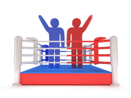 praise: Two men on boxing ring. High resolution 3d render. Sport, competition, match, arena, praise concept.