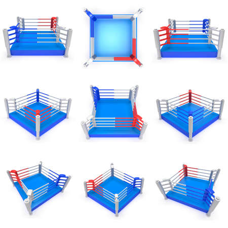 Set of boxing ring. High resolution 3d render. Sport, competition, match, arena concept.