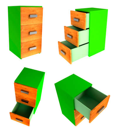 diminishing view: Set of 3D illustration of cabinet with three drawers