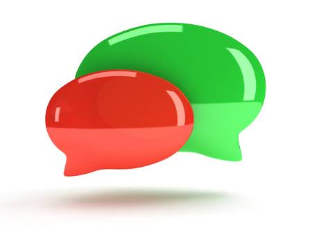 cartooning: Two 3d blank speech bubbles isolated on white. Chat symbols, conference concept. Render