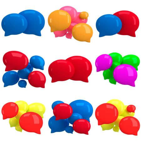 cartooning: Set of 3d blank speech bubbles isolated on white. Chat symbols, conference concept. Render Stock Photo