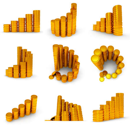 3d set of schedule. Pile of golden coin as stairs 3d render isolated on white background