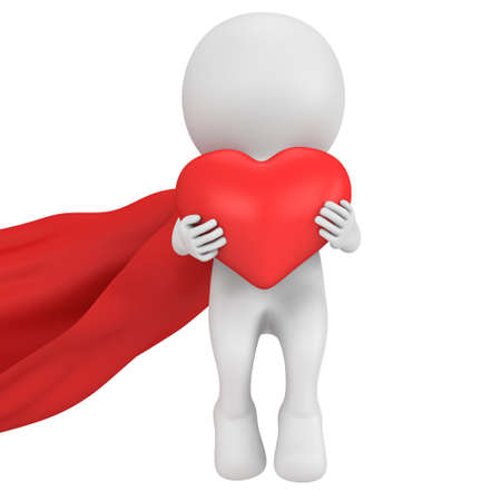 winning proposal: Brave superhero in love with red cloak and big red heart in hands. Isolated on white 3d render. Love, wedding marriage ceremony and Valentines Day celebration concept.