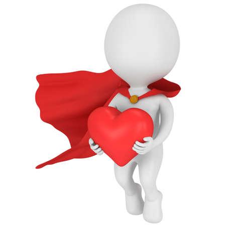Dappere superheld verliefd op rode mantel en groot rood hart in handen. Geïsoleerd op wit 3d geef terug. Liefde, huwelijkshuwelijk ceremonie en Valentijnsdag viering concept. Stockfoto