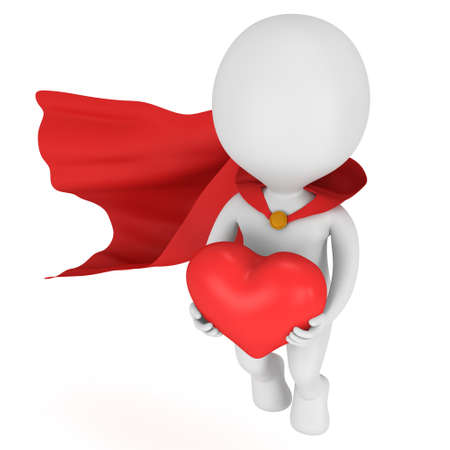 pathetic: Brave superhero in love with red cloak and big red heart in hands. Isolated on white 3d render. Love, wedding marriage ceremony and Valentines Day celebration concept.